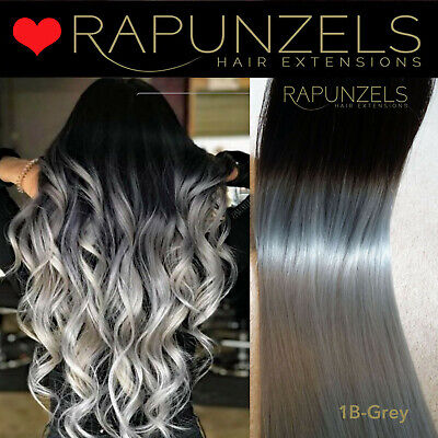 "Ombre Dip dye 20"" black to silver grey human hair weave weft half head full head"