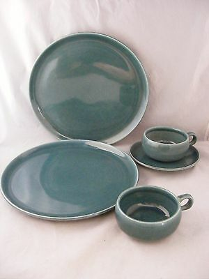 5 pc. Russel Wright Teal Dinner Ware 2 Dinner Plates 1 Saucer 2 Cups Near Mint