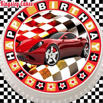 Large Cake Topper 7.5 Inch Edible Icing Red Supercar Birthday Kcl01412