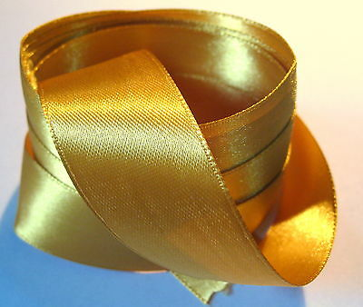 2 metres of 25mm wide BRIGHT GOLD colour Double Face Satin Ribbon - SB9i