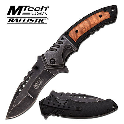 MTECH Spring Assited Tactical Pocket Knife with Stonewash Finish and Wood Handle