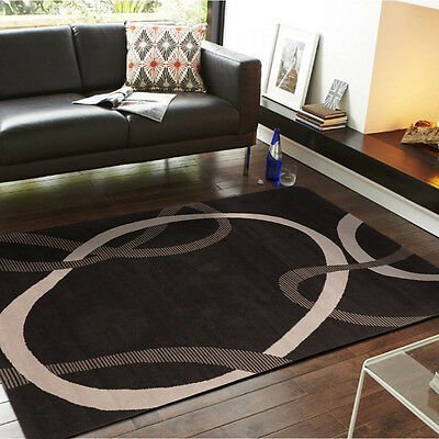 New Viva Modern Floral Black / Grey Contemporary Rugs Living Room Network