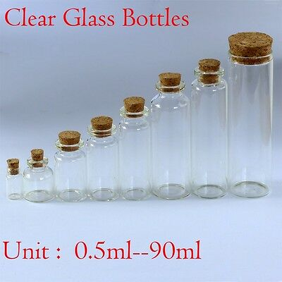 0.5ML~90ML Wholesale Lot Empty Clear Cork Glass Bottles Vials With Cork