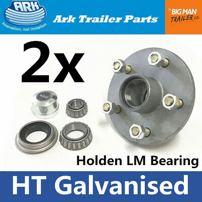 Trailer hubs Galvanised HT 5 Stud Parts Lazy Hub with Bearings Holden LM Pair