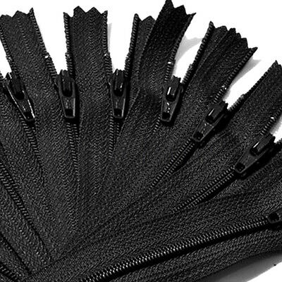 Lots of 9Inch Nylon Coil Invisible Sewing Zipper Tailor Sewer Craft Black TW