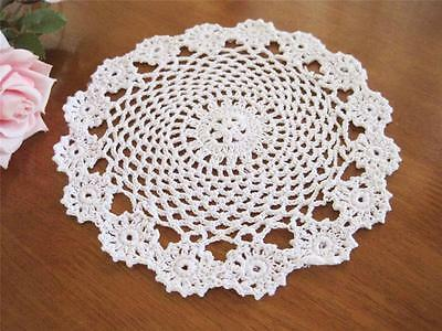 Coming Again!! Chic White Flower Hand Crochet Cotton Doily D