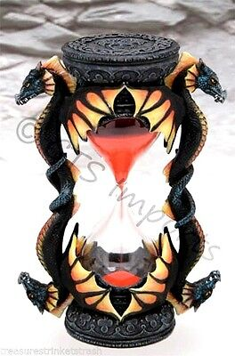 4 Head Dragon Sand Timer  Orange & Yellow Collectible Fantasy Hourglass