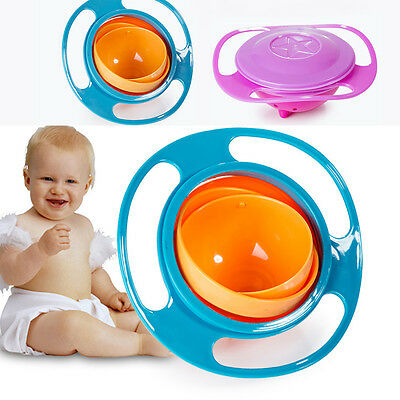 Baby Non Spill Feeding Toddler Gyro Bowl 360° Rotating Babys Avoid Food Spilling