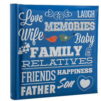 Blue Memo Slip In Family Friends Photo Album 10 x 15 cm For 200 Photos PF200BE