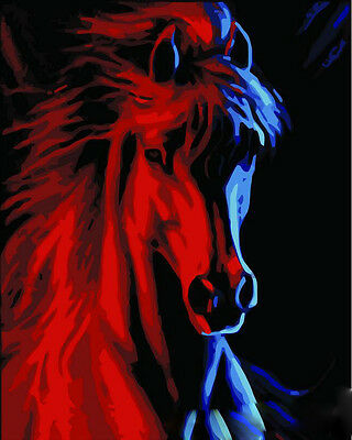 DIY Paint By Number 16*20inches kit Oil Painting Horse Portrait On Canvas 158