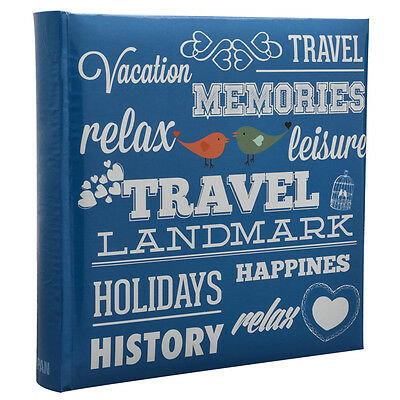 "6""x4"" 200 Photos Large Slip in Travel Photo Album Special BLUE Memo Book CL-6807"