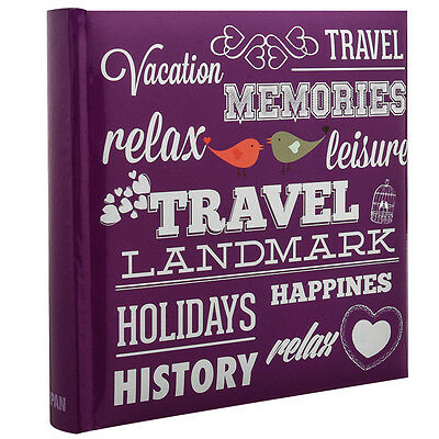 "6x4"" 200 Photo Large Slip in Travel Photo Album Special PURPLE Memo Book CL-6821"