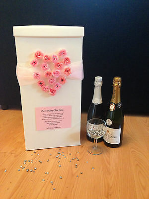 Personalised Wedding Card Post Box - Pink Heart Roses
