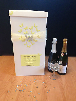 Personalised Wedding Card Post Box - Yellow Heart Butterflies