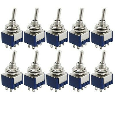 10Pcs AC 125V 6A Amps ON/ON 2 Position 6 Pins DPDT Toggle Switch