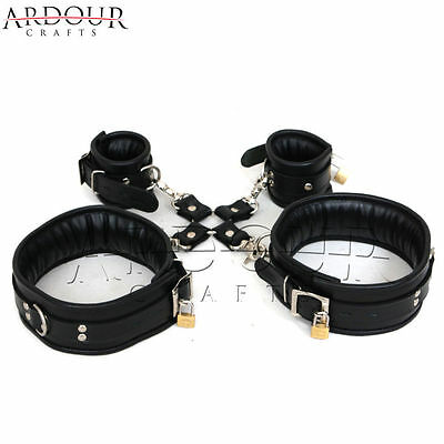 Black Real / Genuine Leather Neck Collar Wrist & Ankle Cuffs 5 Pieces Restraint