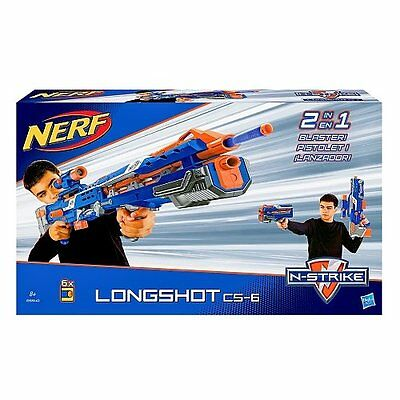 Nerf N-Strike Elite Longshot Cs-6 Blue Toy Game Kids Play Gift 2-In-1 Blaster N