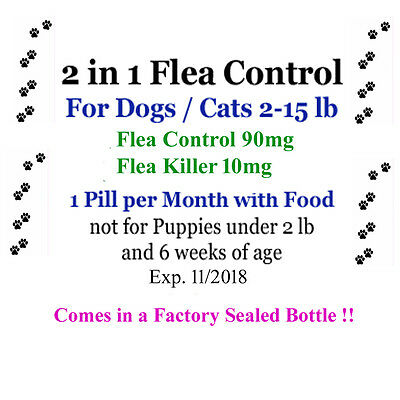 2in1 Flea Killer & Control in one Pill 6 mo.for Dogs/Cats 2-15 lb Factory sealed