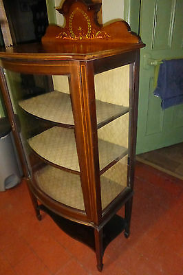 Edwardian Antique Bow Fronted China/ Display Cabinet (27d)