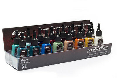 Authentic Kuro Sumi Primary 16 Color #3 Ink Set 1/2oz Tattoo Ink MADE IN USA