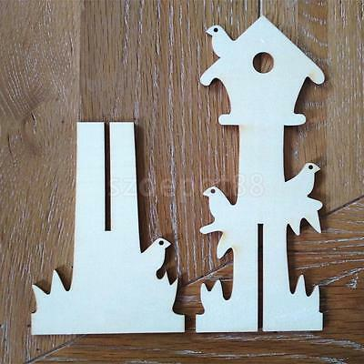 10pcs cabin house unfinished plain wood shapes craft for Craft supplies wooden shapes