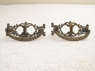 Pair Ornate Antique Baroque Roccoco Brass Drawer Pulls Handles 3 7/8""