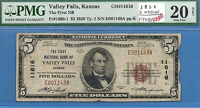 "1929 $5 National Currency ""Valley Falls,KS"" (only 2 known) (#1624)"