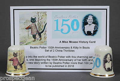 Beatrix Potter 150th Anniversary & Kitty In Boots Set of 2 & History Card B/157