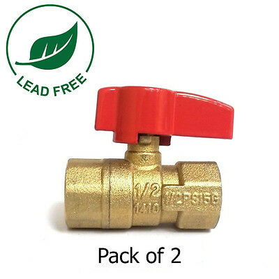 "1/2"" FIP X 1/2"" FIP CSA Approved Straight Brass Gas Ball Valve 600 WOG-Pack of 2"