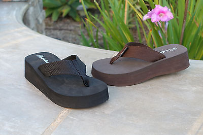 NEW Womens Platform T-Strap Sandals Mid-Wedge Flip Flops Casual- *1068