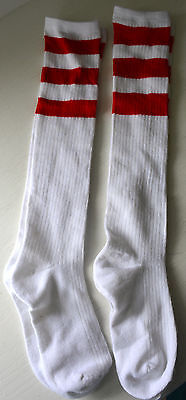 Vintage Lot 2 Pairs Womens TUBE SOCKS White 3 Red Stripes Knit Mid Calf Used #BS