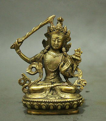 Mouse over image to zoom Folk-Chinese-Tibet-Brass-Buddhism-Manjushri-Buddha-Kwa