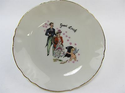 vintage NASCOWARE small decorative dish  GOOD LUCK Cupid  photo of Loving Couple