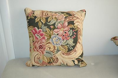Beautiful Hand Made Needlepoint Rose Floral Square Pillow Excellent
