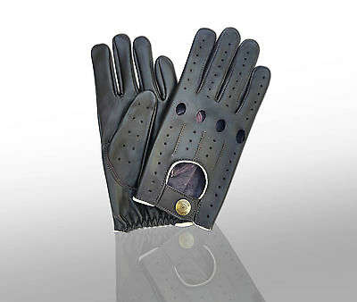 Top Quality Real Soft Leather Men's Fashion Driving Gloves Brown Beige Piping