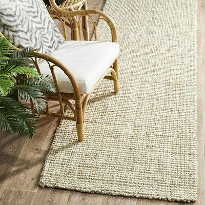 MORAINE BLEACH WHITE NATURAL CHUNKY JUTE FLATWEAVE FLOOR RUNNER 80x300cm **NEW**