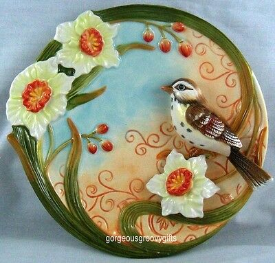 Function Art Bird And Daffodiles Ceramic Decorative Plate