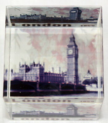 Big Ben London Glass Square Paperweight
