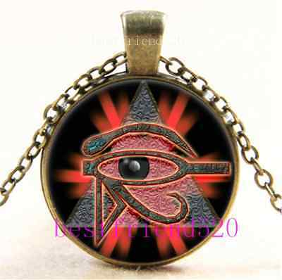Vintage Eye of Horus Egyptian Cabochon Glass Bronze Chain Pendant Necklace