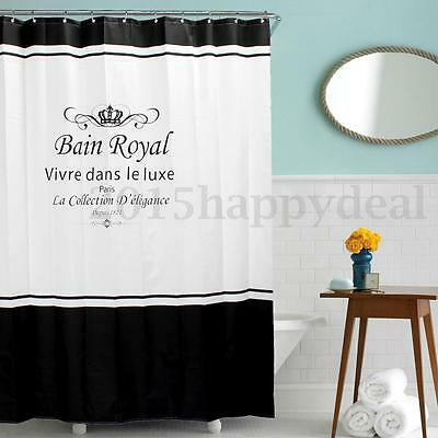 6x7FT Black White Waterproof Crown Shower Curtain + 12 Hooks Bathroom Decoration