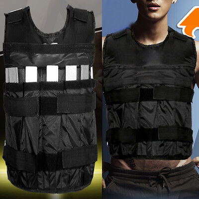 Mens Adjustable 44lbs/20kg Weighted Vest Jacket Workout Training Fitness Outwear