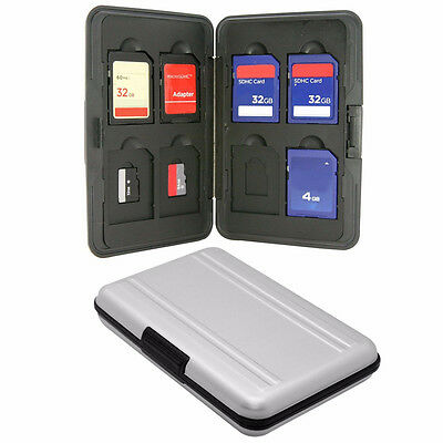 Aluminum 8x SD Micro SD Memory Hard Card Storage Carrying Case Holder Protector