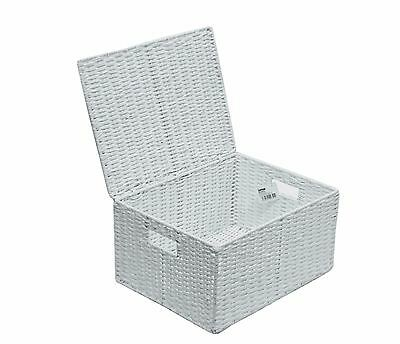 Extra Large Paper Rope Storage Basket Box With Lid - White  WB-9690XL