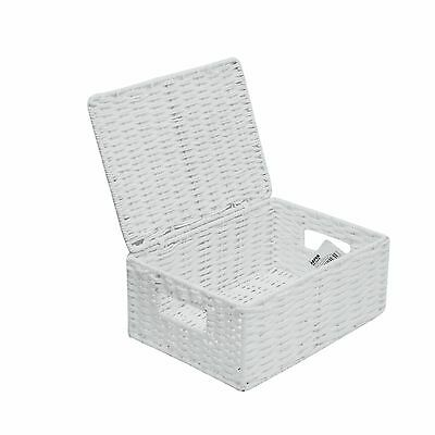 Medium Paper Rope Storage Basket Box With Lid - White  WB-9690M