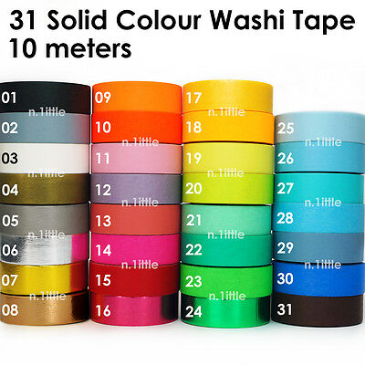 Solid Colour Paper Washi Tape Masking Adhesive Roll Decorative Card Craft 10M