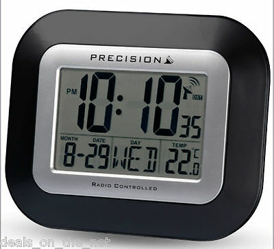 Precision Radio Controlled Large Screen LCD Wall Or Desk Clock Black P034 Black