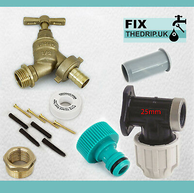 25mm MDPE Outside Tap Kit With Brass Wall Plate & Garden Hose Fitting [NAZ]
