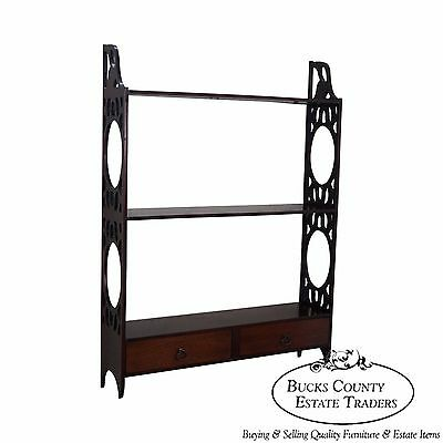Schott Furniture Solid Mahogany Chippendale Style Hanging What Not Shelf