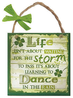 Rustic Ireland 'Life Storm' Wooden Plaque With A Green & White Wooden Design