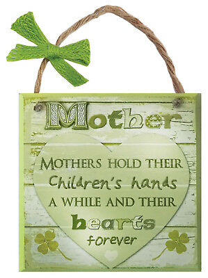 Rustic Ireland Mother Wooden Plaque With A Green Heart & White Background Design